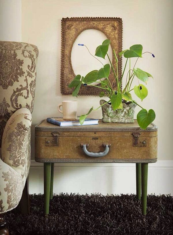 Suitcase into an end table