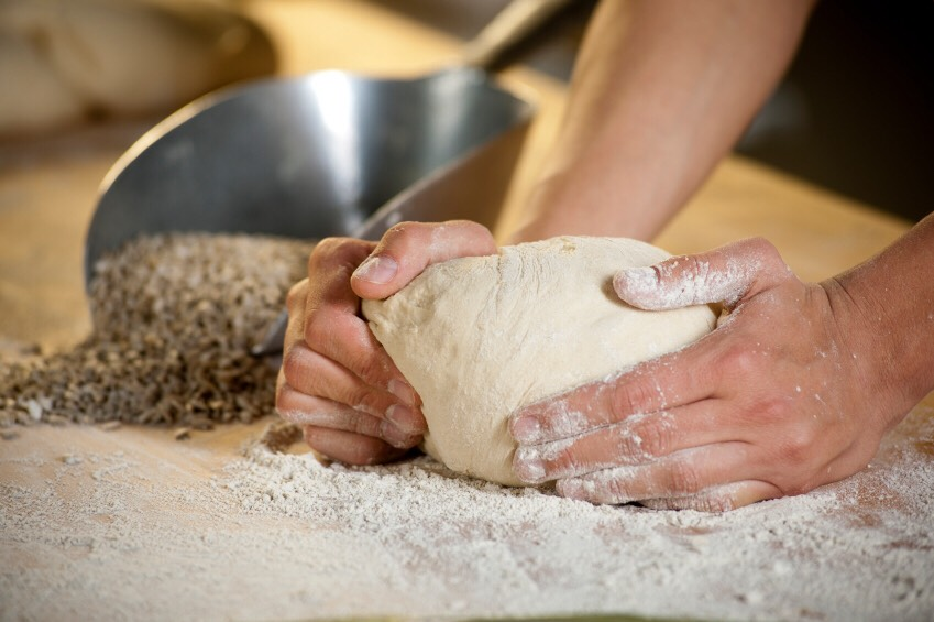 On lightly floured surface, knead dough about 5 minutes or until smooth and elastic. Grease large bowl with shortening or spray with cooking spray. Place dough in bowl, turning dough to grease all sides.