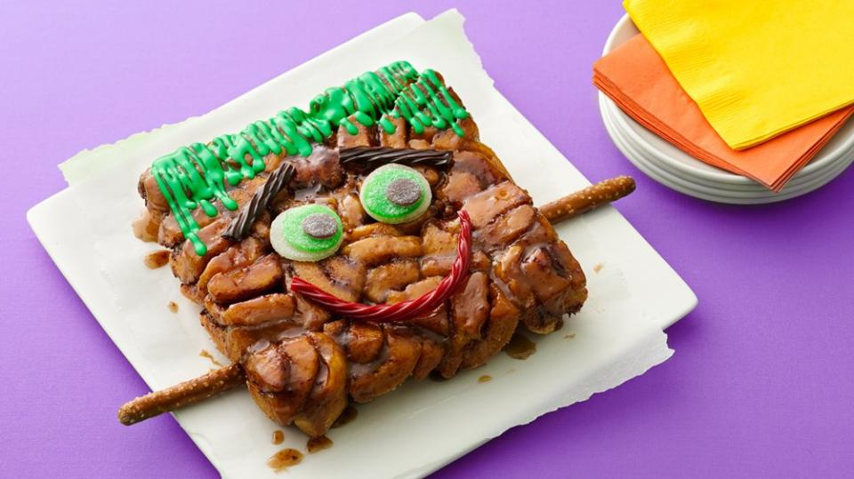 Frankenstein Monkey Bread There's nothing freaky about this friendly Frankenstein monkey bread! Kids will love to eat this special Halloween-themed breakfast treat.