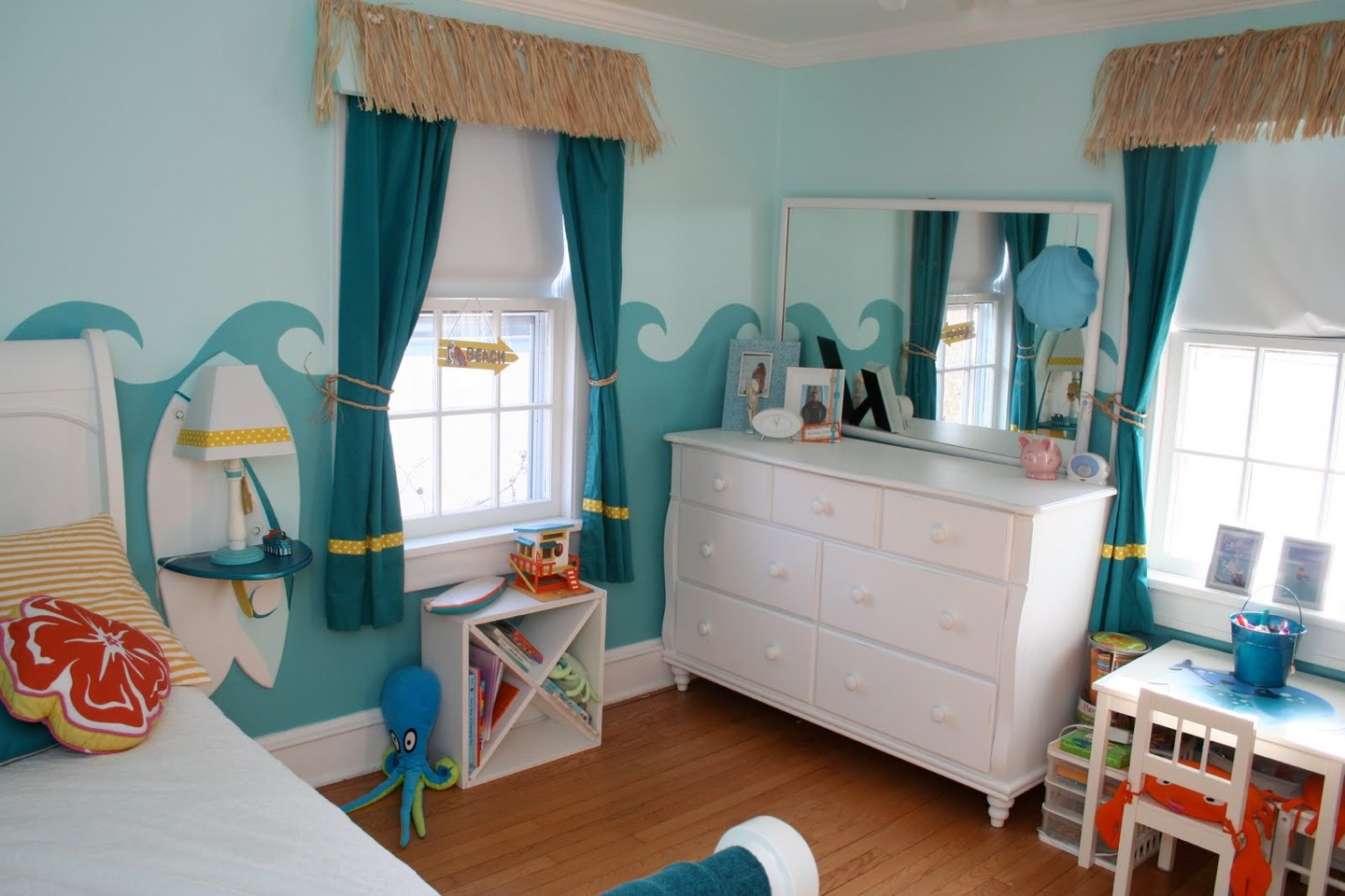 Try to get white furniture - this will make the blue or any other colour pop!!