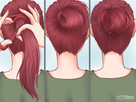 Do a sporty bun. Pull your hair up like you are making a ponytail. However, when you put the elastic in, only wrap it fully twice. The third time, only pull the pony halfway through. Pull out random pieces, if needed.