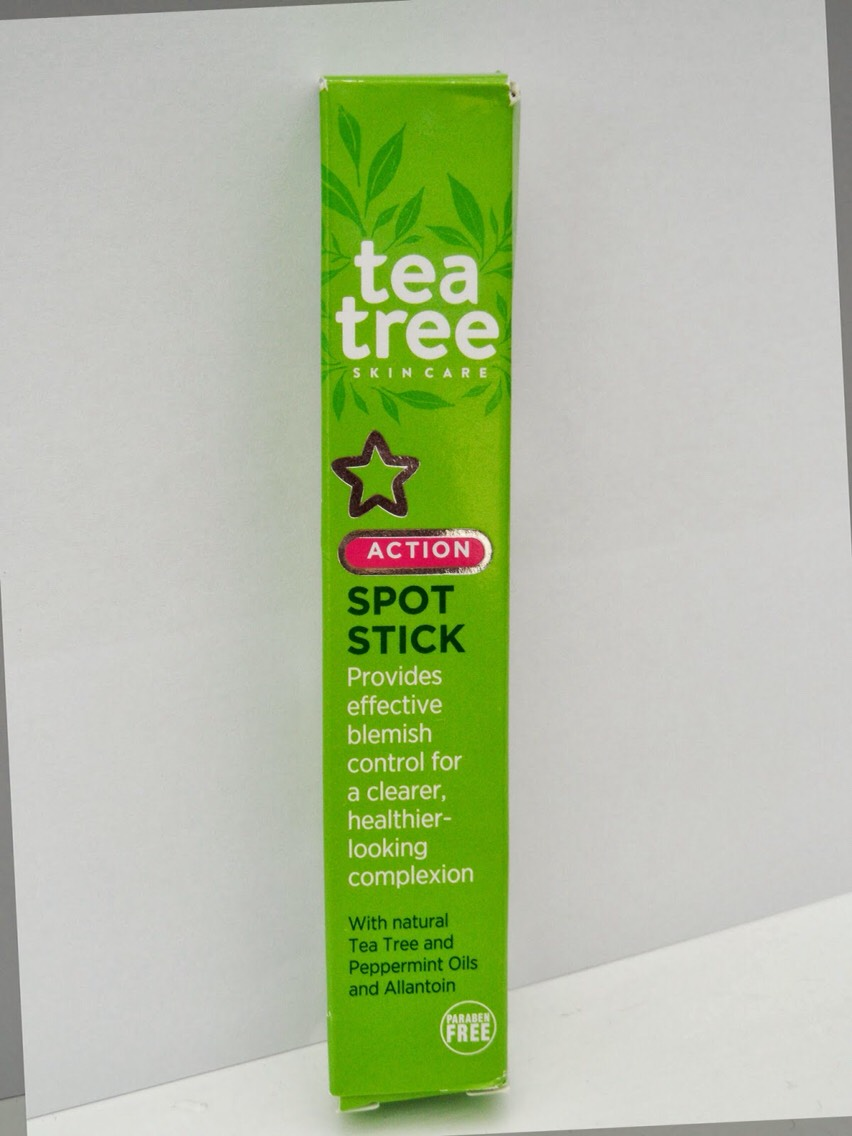 This tea tree spot stick controls spot breakouts and 'zaps' away blemishes. Dab over spots and leave the gel to dry. Use twice daily, with results showing after 2 weeks.   Cost of product = £5.99 from Superdrug