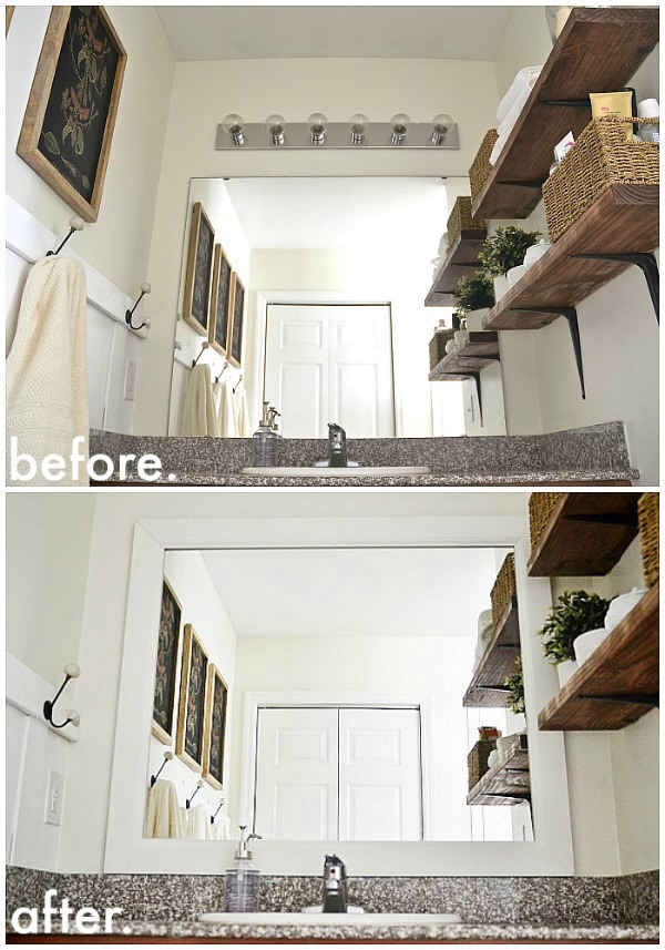 """27. Framing your bathroom mirror will make it """"sit"""" nicely with the rest of your decor."""