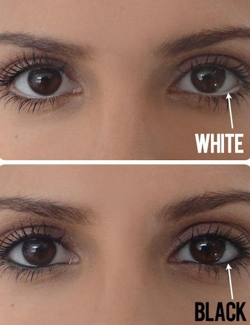 If you don't already own a white pencil, invest in one now just for this simple trick! Instead of lining your water line with dark eyeliner, use a white pencil to create the illusion of a bigger eye. If you squint your eyes a little at this picture comparison, you'll see what a difference it really