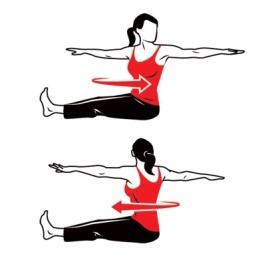 To get started, sit on the floor or on a mat with legs extended. Lift your arms at the sides to your shoulder height. Twist your upper body to the right side as you take a deep breath. You can then exhale as you move towards the other side while maintaining your arm's position. Do this repeatedly 8x