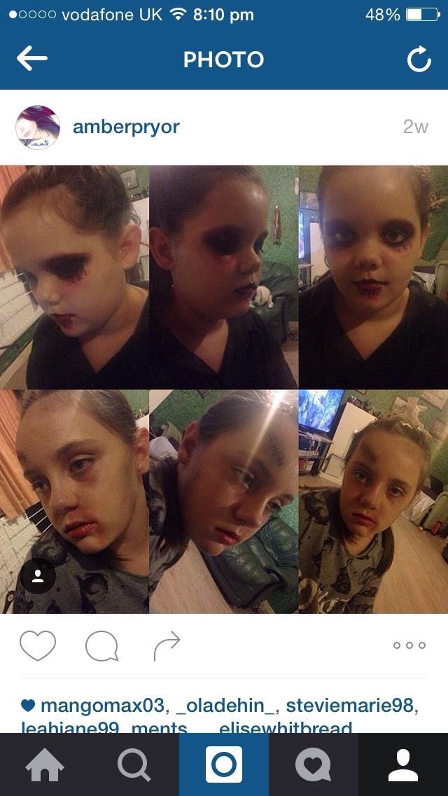 These 'scary' faces are perfect for halloween!  The top photos are perfect for people who want to scare on halloween, the photos on the bottom are perfect for the people who want to be fashionable but yet freaky on halloween night. Get your faces ready for halloween and enjoy yourself.
