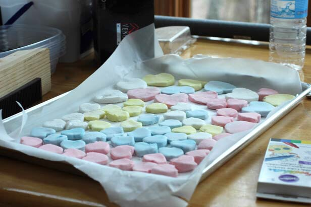 Line a baking tray with parchment paper and arrange the candy on the tray and set aside in a cool location to dry. Depending on the size and thickness, candy should be ready to decorate in about 24 hours.
