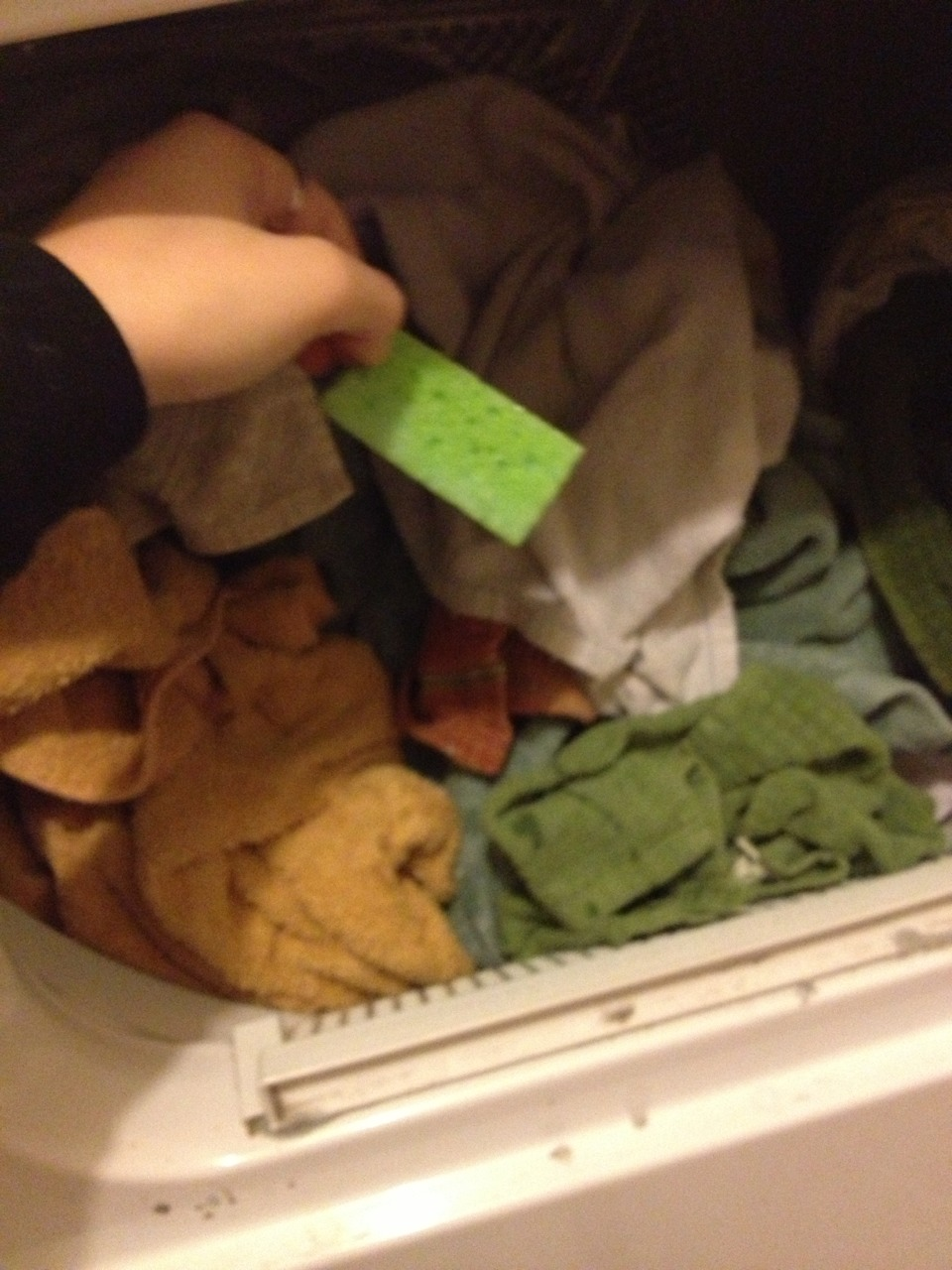 throw your wet sponge into the dryer with your wet clothes.