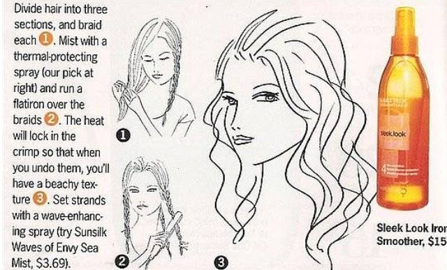 1:) divide hair into 3 sections. Braid each.  2:) Use a straightener to straighten the braids. Do this 3-4x. Do not set your straightener over 350 degrees.  3:) Undo the braids. Either hairspray them or use a wave-enhancing spray.