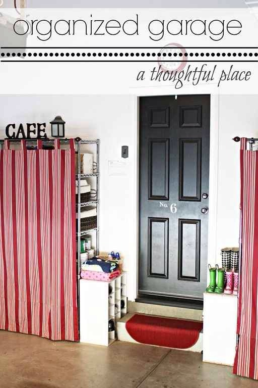 3. Use tab curtains to cover up unsightly wire shelving.