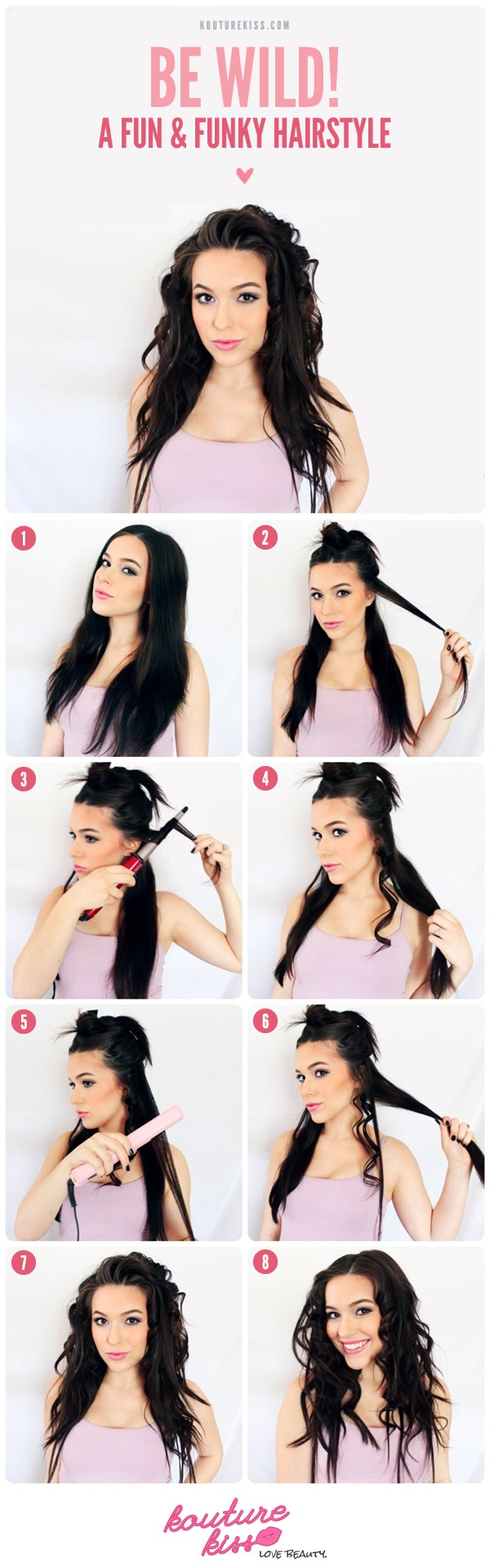 1: Begin with clean, dry hair parted the way you want it for the hairstyle. 2: Section off the top two-thirds of your hair and begin with a one inch section of hair.  3 & 4: Curl this section of hair using a ½-1 inch curling wand or barrel. 5 & 6: Take the next 1 inch section and straighten this one