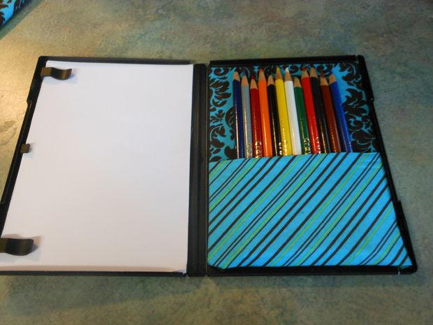 DVD cases can become awesome coloring kits. This DVD case does a double-duty of providing entertainment.