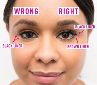19.Don't apply black liner all around your eye and inyour waterline.This will make your eyes appear much smaller than they are.  Instead, line the top withblack liner, the bottom with brown liner, and the waterline with nude liner toreallyopen your eyes.