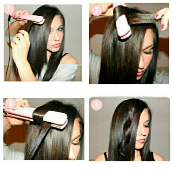 here is a little step by step picture to show you how to wrap your hair around the straightener to get beautiful curls