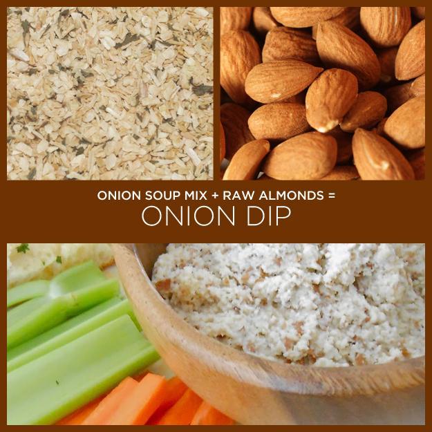 Onion Soup Mix + Raw Almonds = Onion Dip