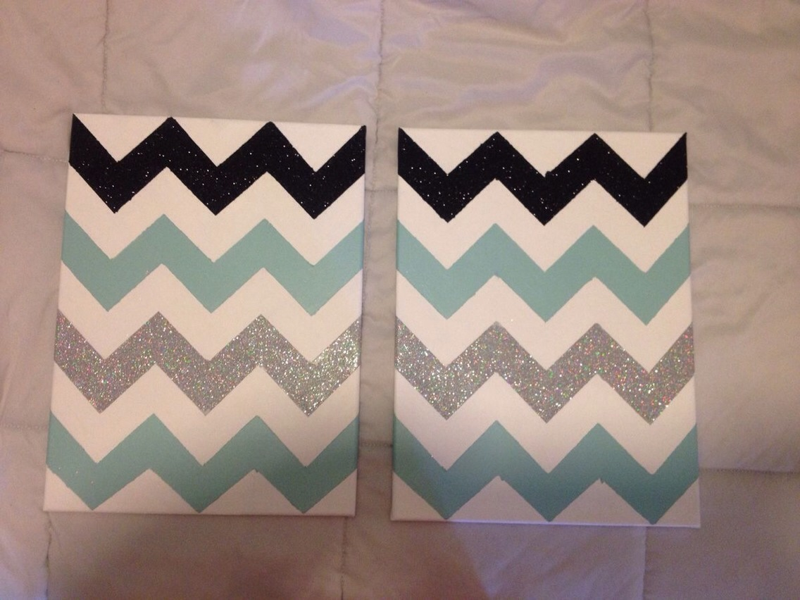 Tape the canvas in the chevron design paint and add glitter where you want