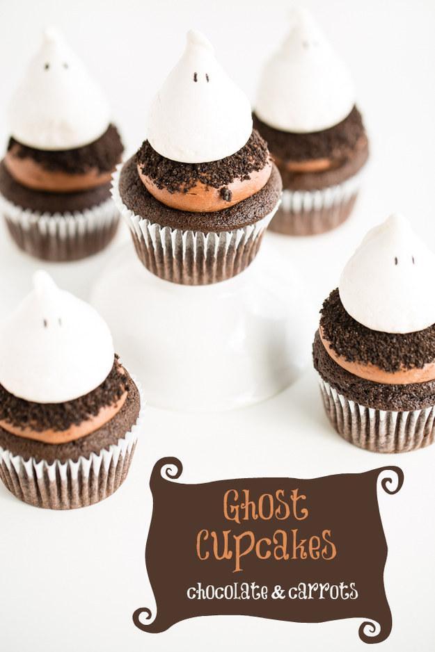Recipe: http://chocolateandcarrots.com/2013/10/ghost-cupcakes