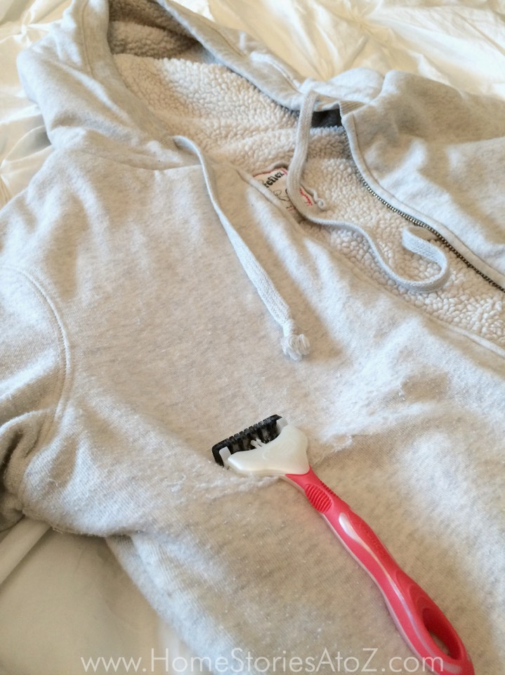 10. Sweaterpillrazorhack  Any pills on flat clothing can easily be removed with a disposable razor. Just shave the pills right off!