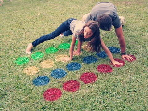 Outdoor Twister Use Ground marking paint to avoid damaging your lawn