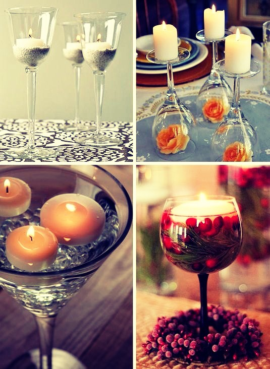 Use a wine glass as a candle holder 🍷