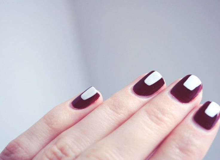 * To accent a darker color, paint a thick white strip onto your nail.