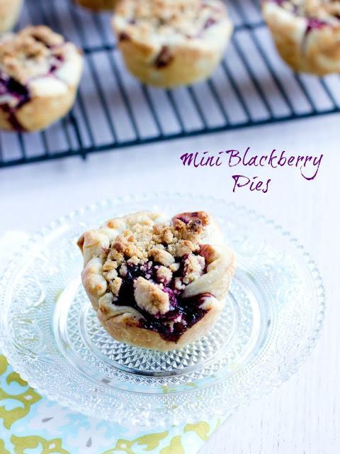 Follow this recipe for mini blackberry pies!