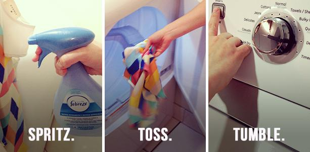 Easy tip with just Febreze and your dryer.