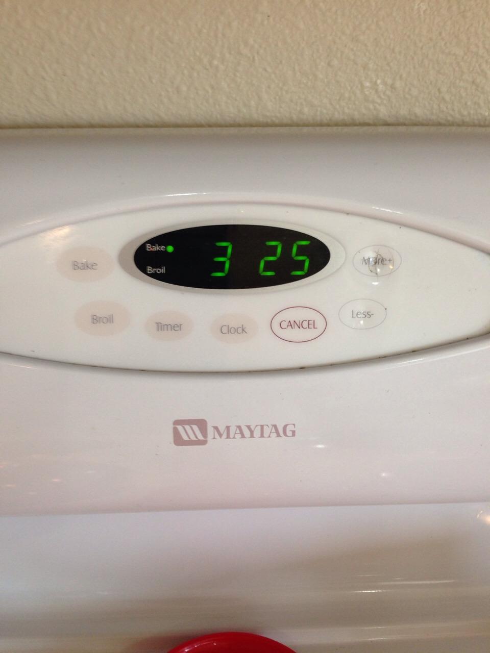 Preheat your oven to 325 degrees  Fahrenheit