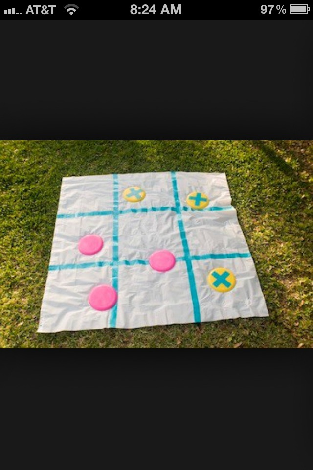 6.) FRISBEE TIC TAC TOE Get a tarp or a curtain and use either duck tape or spray paint for the lines! Then get some frisbees and duct tape or spray paint X's on them and leave half of them blank because those ones will be your circles!!