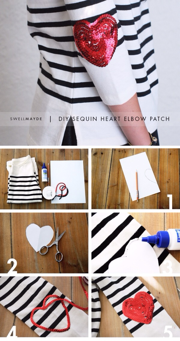 Steps: 1.Fold the copy paper in half.Draw half of a heart about 3 1/4″ tall. 2. Cut out the heart. 3.Place the paper heart on top of the sleeve, where your elbow would land.This should be at the center of the sleeve, about 9 1/2″ from the armhole seam.