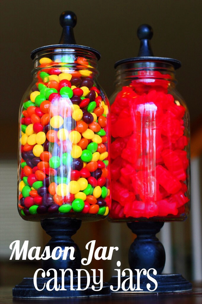 Cute candy holder!  Supplies needed: mason jar, large candle holder, any toper!