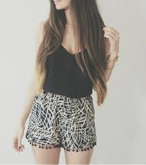 an example of some loose shorts and a tank top. its cute for school or the beach