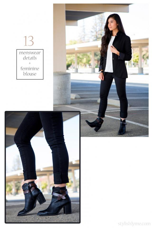 Menswear inspired outfit with a feminine touch  Channeling the menswear inspired trend try a pair of black ankle boots with menswear accessories; such as a boyfriend blazer and men's watch.