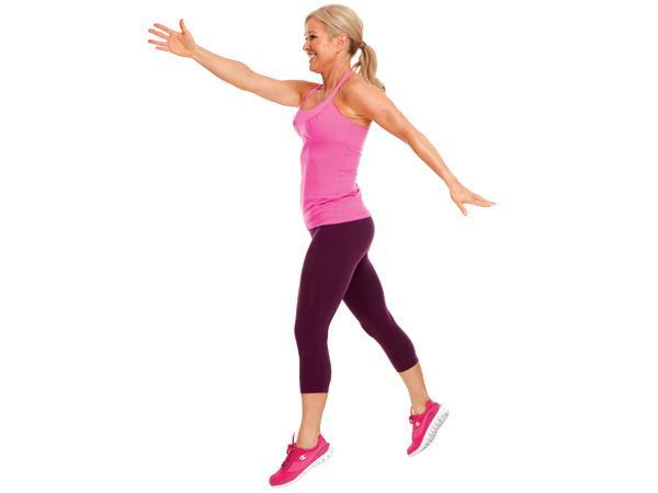 Week 1 Power Move: Split Jump Targets: butt, legs (and boosts heart rate!) Start in a shallow lunge, right foot 2 to 3 feet in front of left foot. Jump up , while in the air, scissor-kick so you land with left leg forward, immediately lowering into a shallow lunge. Alternate front leg with eachrep