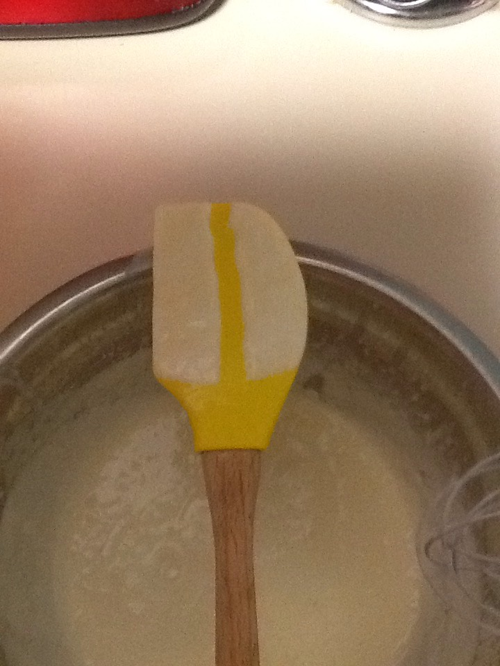You want it so thick that when you put some on the spoon and run your finger through it the line still shows