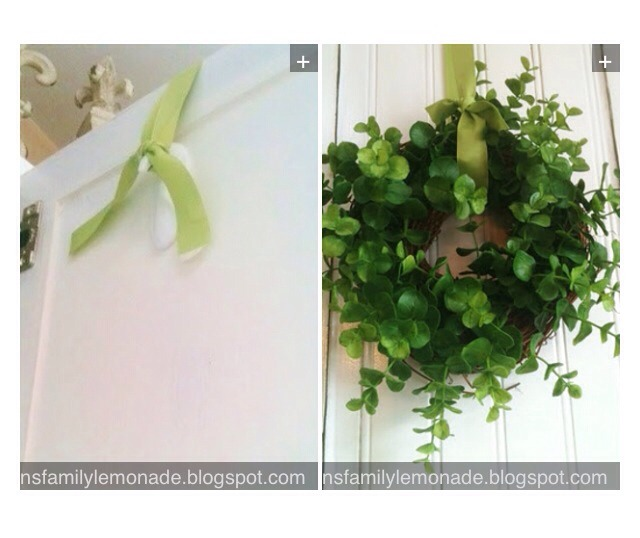 7. Use an upside down Command hook on the backside of a door to hang a wreath.