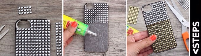 What You Need:  Phone case Scissors Glue Studded trim
