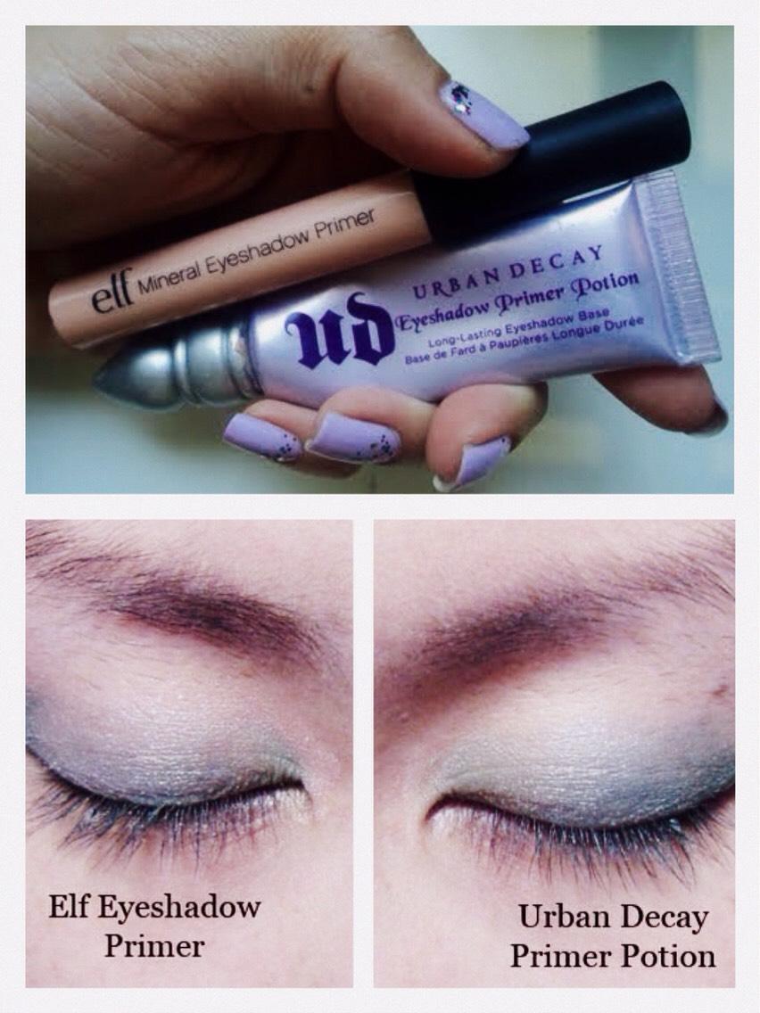 Urban Decay Eyeshadow Primer Potion vs. Elf Eyelid Primer