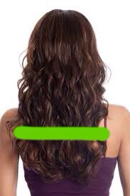 Next you are going to apply another layer of dye (the same color) to the tips of your hair so you need to decide how far up your next layer will go. I like to apply mine to the area below the green line as shown above.