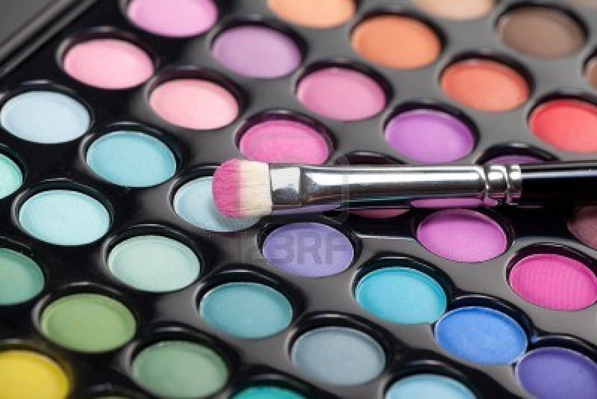 Take eye shadow and scrap into a clear over coat nail polish container with the clear nail polish in it