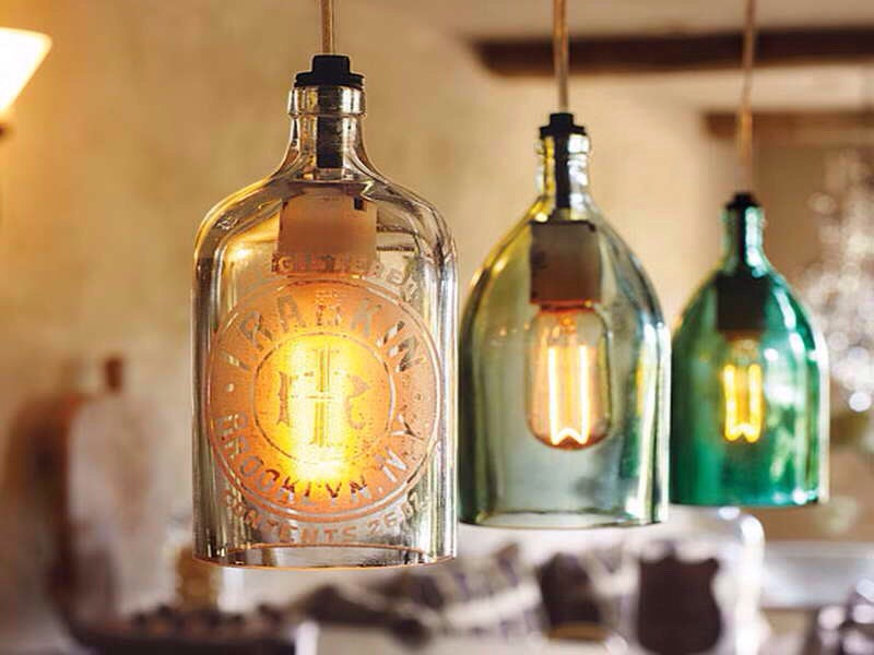 Old glass jugs into lighting fixtures