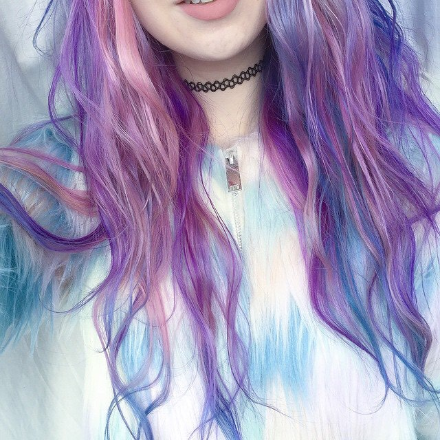 14. Dyed Hair Pastel Blue and Violet: