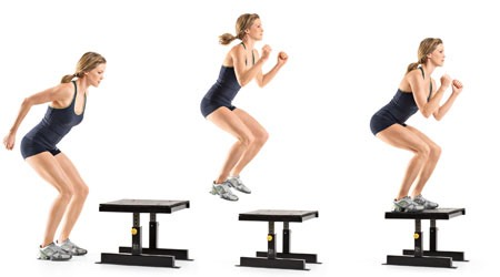 1. Box Jump15 Reps  Starting with both feet on the ground,jumpup ontothe 'box'Be sure to pick something safe to jump up onto and something that isn't too highbut high enough to get results.To achieve a successful box jump the aim is to get both feet up on the step at the same time using yourbody