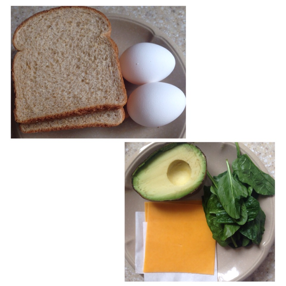 First things first, get your ingredients together. These can vary by what you like. I used whole wheat bread, eggs, avocado, spinach and Kraft sharp cheddar cheese slices. (You could use whatever bread or cheese you'd like and spinach is optional)