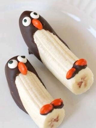 Chocolate dipped bananas into penguins!