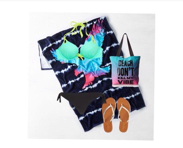 Top -  victoriassecret.com  Bottom- riverisland.com  Shoes - Aeropostale.com  Bag - Amazon.com  Towel- ae.com