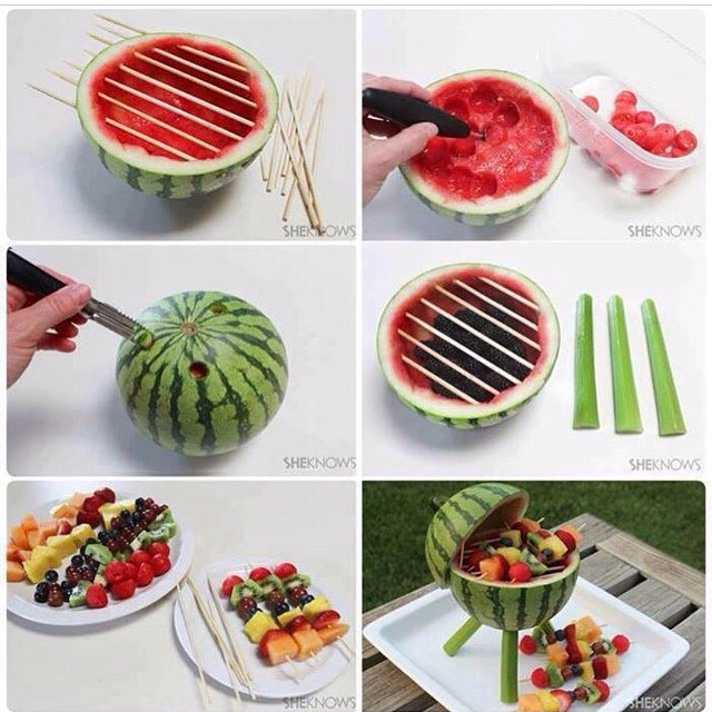Make three holes ( not all the way through) for the stand /legs. Scoop out the watermelon with a scooper and save for later. Push through thick cocktail sticks and cut off the extra. Put blackberries inside (optional)  Make fruit kebabs with the watermelon balls and other fruit. Set up like a bbq.