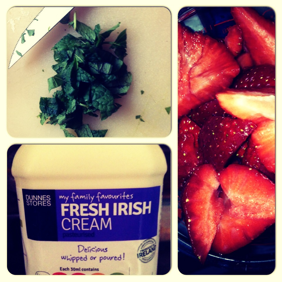 Chop up the mint leaves Whip the cream Chop the strawberries