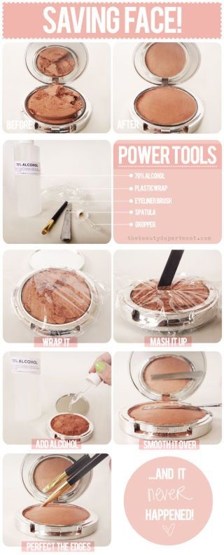 Fix a broken compact  Repair broken blush, Eyeshadow, bronzer, cover up And more with this genius idea. Use a little Rubbing alcohol And plastic wrap To fix any broken compact.
