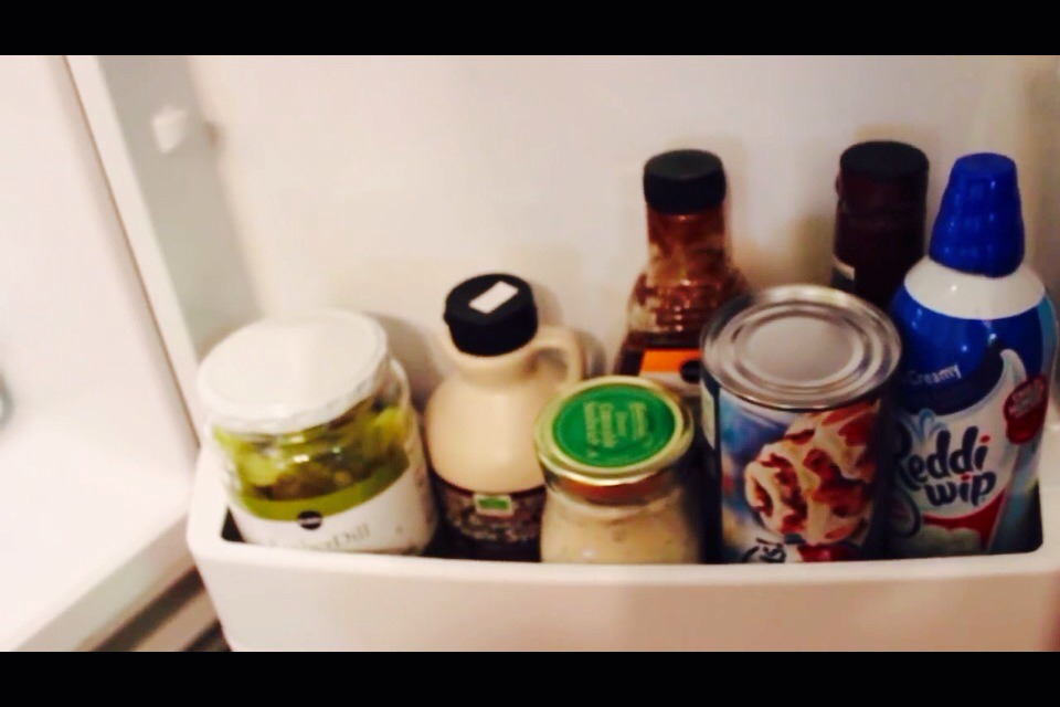 Use the bottom shelf for random items like biscuit cans,dressings, whipped cream etc.
